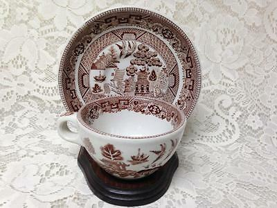 Vintage, Rare, Buffalo Pottery, Brown, Blue Willow Cup and Saucer