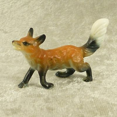 "Vintage Miniature Bone China Red Fox Figurine Matte Forest Woodland Animal 1.5""T"
