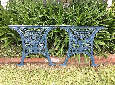 vintage CAST IRON TABLE ENDS original heavy cast RUSTIC BLUE add top