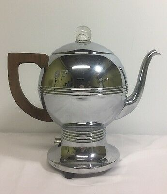 VTG General Electric Hotpoint Chrome Potbelly Percolator Coffee Pot Maker GE