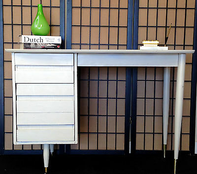 Vintage Mid Century Danish Modern Desk w/ Drawers Vanity White Painted Wood
