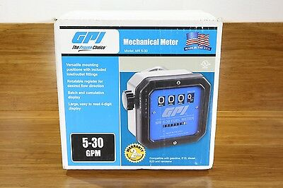 "GPI 1-1/2"" NPT Mechanical Fuel Gas Gasoline Diesel Pump Meter 5-30 GPM"