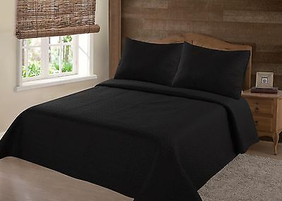 Midwest Black Nena Solid Quilt Bedding Bedspread Coverlet Pillow Cases Set