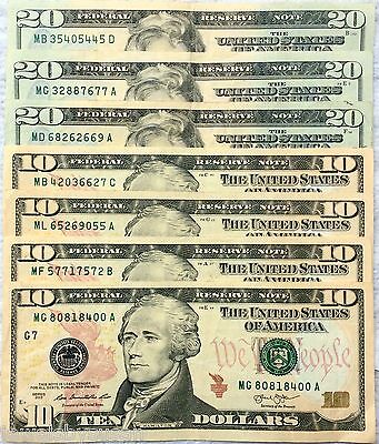 $100- $20,$10 Dollar Bills series 2013 Some Neat Serial numbers circulated