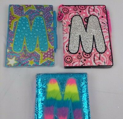 """NEW JUSTICE Personalized LOT """"M"""" Initial Notebooks Journals Pens Diary glitter"""