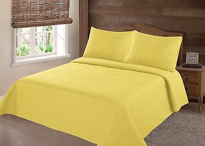 Midwest Yellow Nena Solid Quilt Bedding Bedspread Coverlet Pillow Cases Set
