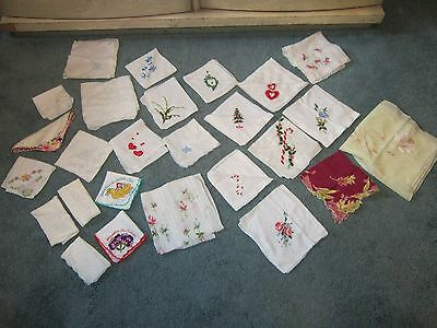 Lot of 26 Vintage Ladies Handkerchiefs Printed, Embroidered, Holiday