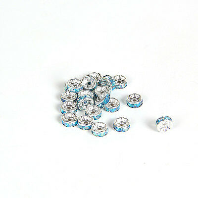 Free shipping 20pcs 8MM Plated silver crystal spacer beads Jewelry Making No.18