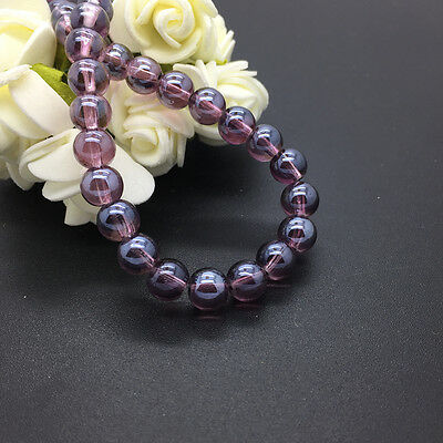 New 50pcs 6mm Electroplating Crystal Glass Spacer Round Beads Loose Beads #DG43
