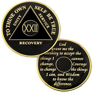 AA Recovery Medallions Anniversary Coin Black / Black (Years 1-50)
