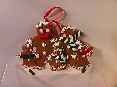 "Gingerbread Christmas Ornament--Family--4"" X 5"" --Free Ship--New"