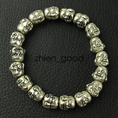 Chinese collection old Tibetan silver amulet Buddha Bracelet CZQ14