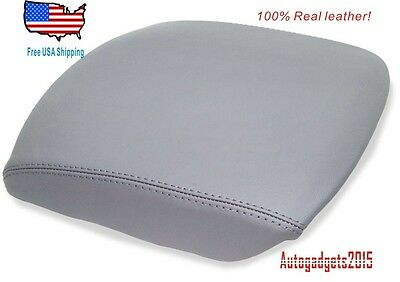 Fits 09-13 HONDA PILOT GRAY REAL LEATHER CONSOLE LID ARMREST COVER