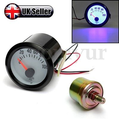 2'' 52mm CAR 100PSI OIL PRESSURE GAUGE METER POINTER BLUE LED LIGHT + SENSOR
