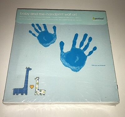 Pearhead Baby and Me Handprint Canvas Kit, Blue Giraffe Wall Art NEW