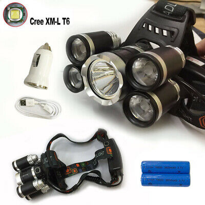 Rechargeable 80000Lm Cree 5T6 Xml Led Headlamp Headlight Torch Lamp 2018