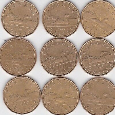 9 - 1989 Canadian $1 Dollar Coins Canada Loonie Lot