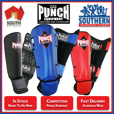 Punch Equipment Punchtex MMA Shin Guards Pads Muay Thai Training Sparring SIZE M