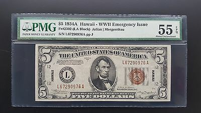 1934 A $5 RARE HAWAII Emergency Note Certified PMG