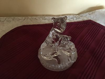 Vintage Crystal - Glass -  Figurine - Lioness And Cub