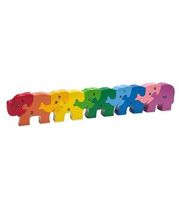 NEW Rainbow COUNTING Numbers ELEPHANT Wooden Wood PUZZLE 1 PIECE CRACKED