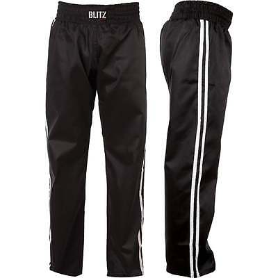 Blitz Sports Kickboxing Classic Polycotton Full Contact Trousers - Black White