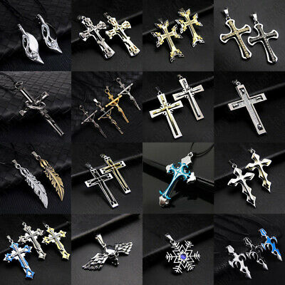 Men Women Stainless Steel Necklace Lots Style Cross Skull Head Pendant Chain