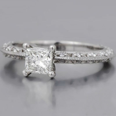 1.35 CT Off White Princess Moissanite tapered engagement rings with 925 Silver