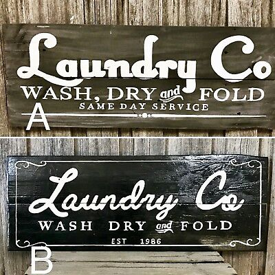 """LAUNDRY CO"" L80CM x H30CM -  2 STYLES - Rustic Vintage Style Timber Sign"
