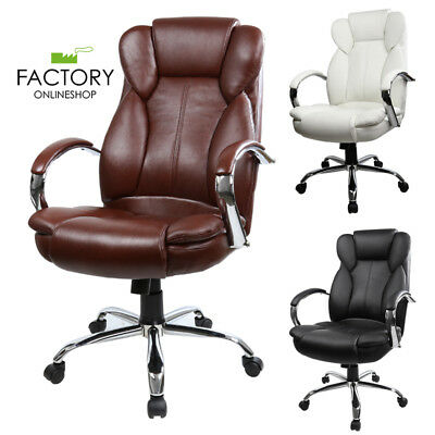 PU Leather High Back Computer Ergonomic Executive Office Chair White/Black/Brown
