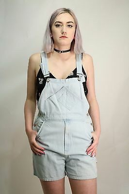 Vintage 80's Blue Denim Dungarees Shorts Size Small 6 8 10 Festival