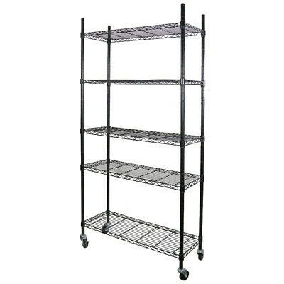 "75"" Heavy Duty Steel Adjustable Black 5 Tier Wire Layer shelf Rack w/ Wheels"