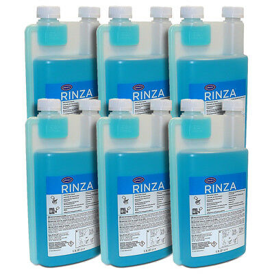 6 x 1L Urnex Rinza Milk Pipe / Frother Cleaning Fluid/Liquid for Coffee Machines