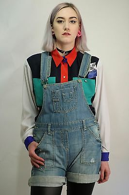 Vintage 90's Blue Denim Dungarees Shorts Size Small 6 8 10 Festival