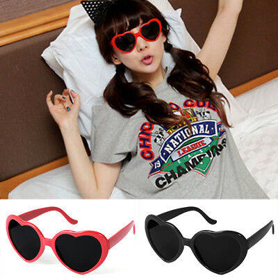 New Trendy Colorful Love Cute Heart Shape Unisex Plastic Frame Sunglasses