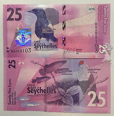 Seychelles 2016 year 25 rupee Brand New Banknotes