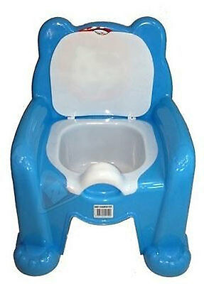 Easy Clean Kids Toddler Potty Training Chair Seat Removable Potty Lid Blue New