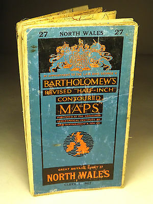 Collectable Vintage Bartholomew's Map of North Wales No.27 (WH_0207)