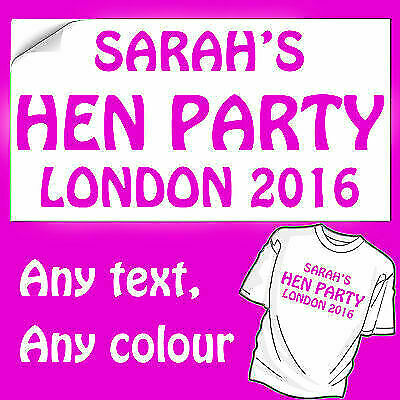 Hen Night T Shirt Iron On Transfers Birthday Personalised Any Name Colours!