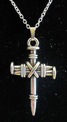 "NEW 18""  925 Sterling Silver Chain Nail Cross Crucifix Pendant Necklace Nice!!"