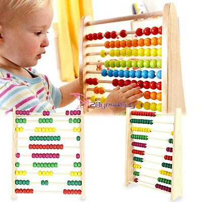 Wooden Abacus 10-row Colorful Bead Counting Maths Kid Learning Educational Toy Y
