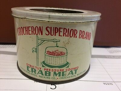 Crocheron Superior Brand Crab Meat Tin Can Not Oyster - Neat Graphics