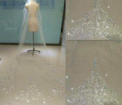 Bridal Wedding Veils White Ivory Sequins Bling 3 meter Cathedral Lace With Comb