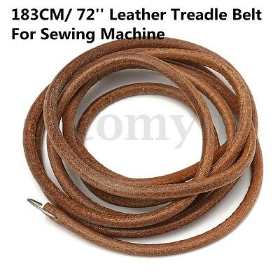 "72"" 183cm Leather Belt Treadle Parts w/ Hook For Singer Sewing Machine 3/16"" 5mm"