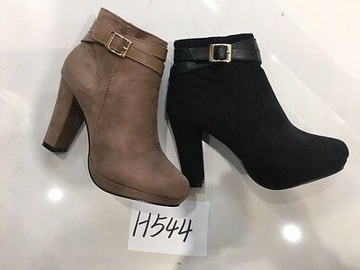 Wholesale Joblot Ladies Women Suede Look Heeled Shoes Boots 1Box of 12 pairs
