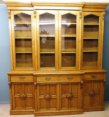 Large Antique Victorian Light Oak Country House Breakfront Library  Bookcase
