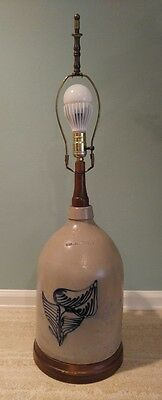 Antique N. A. White & Son Utica New York 2 Gallon Stoneware Jug Lamp