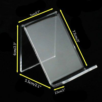 """2 x Acrylic Retail Display Aid Phone Case Wallet Holder Easel Stand 2.7"""" Width"""