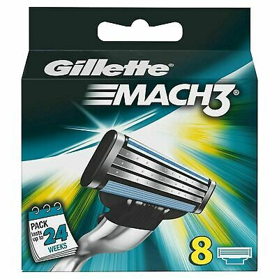 Gillette Mach3 Manual Razor Men's Blades Replacement Refills - Pack of 8 Blades