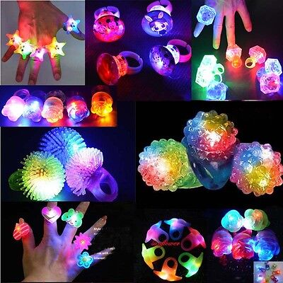 50 x Party LED Light Up Flashing Strawberry Finger Ring Toy Gift Rave Club Rings